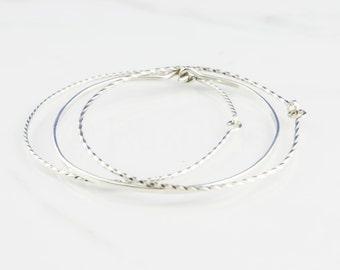 Sterling Silver Bangle Bracelet, Thin Bangle, Bangles Set, Silver Bangles, Hand Forged Metal, 3 Bracelets, Stacked Bangle, Modern Minimalist
