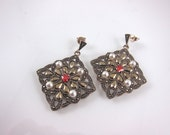 FALL SALE-Vintage Art Deco Style Marcasite, Garnet, Pearl And 925 Sterling Silver Post Earrings