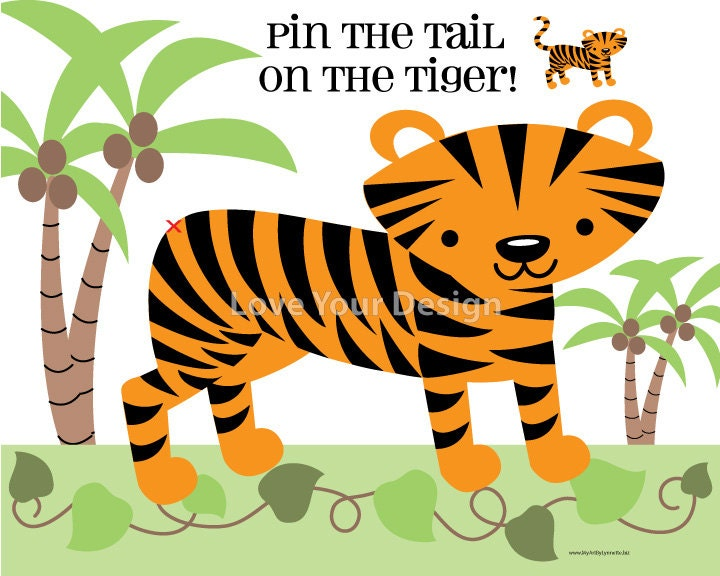 Pin The Tail On The Tiger Birthday Game DIGITAL Jpeg File For