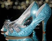 CHARLIE CO. Tiffany Blue Aquamarine Peep Toe Medium Mid Heels Wedding Bridal Shoes rhinestone heels Pink Green Gold Court Closed Toe