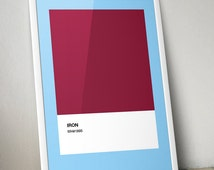 "Modern Classics: ""West Ham"" A4 Football Print in claret, blue and white"