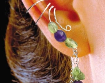 Amethyst & Peridot Ear Cuff Dangles on Sterling Silver