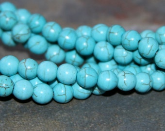 6mm  Blue Turquoise  Round Beads,  Bead supplies. gemstone, turquoise,jewelry supplies, turquoise beads, 6mm beads