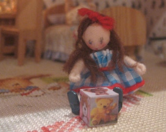 dollhouse teddy bear wooden toy block dollhouse 12th scale miniature doll not included