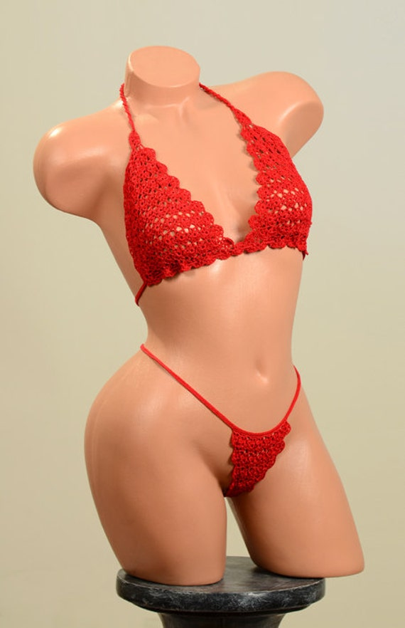 Crocheting Underwear : Crochet lingerie. Crochet red womens underwear. Ready for shipment.