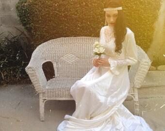 Edwardian Vintage Wedding Dress Gown Gothic Revival Handmade Silk Beadwork Pearls / Gatsby / Bridal Kate Middleton