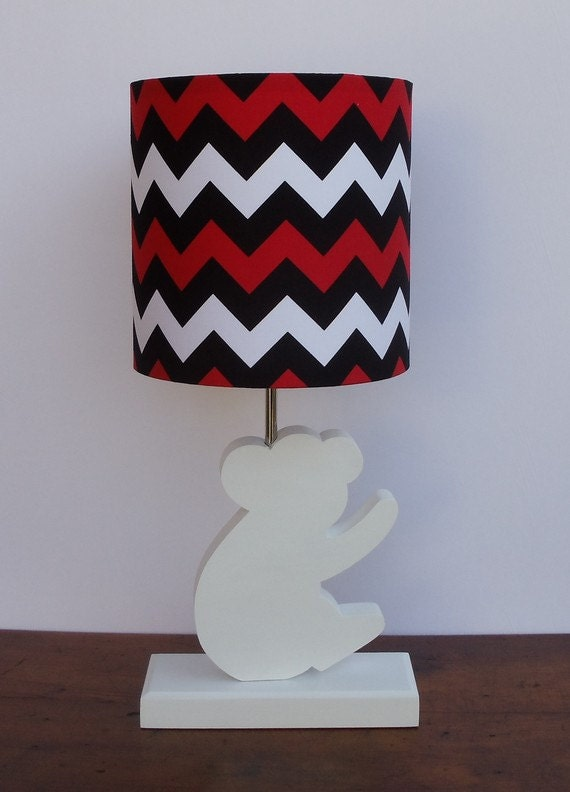 small red black white chevron drum lamp shade nursery or kid 39 s lamp. Black Bedroom Furniture Sets. Home Design Ideas