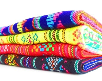 Mexican fabric, Aztec fabric, Mexican Fabric Bundle, tribal fabric by the yard,colorful tribal fabric by the yard. emboidered fabric