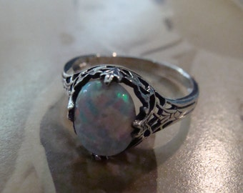 Lovely Sterling Filigree Opal Ring  Size 5.75