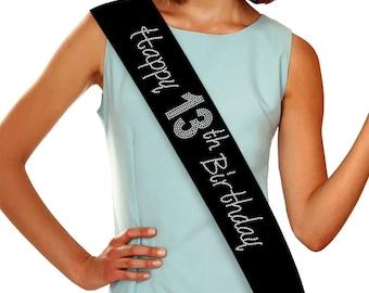 Happy 13th Birthday Rhinestone Sash, 13th Birthday - Custom Sash