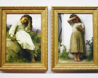 William Adolphe Bouguereau, Framed Art, Home Decor, Gold Framed 5 x 7 Art, Decorative Gold Frames, Bouguereau Art Paintings, Framed Art