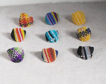 Colorful knotted ring, vegan jewelry, gift idea under 15
