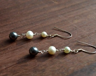 Freshwater Pearl Earrings- multi colored pearl earrings, pearl earrings, pearl and silver earrings