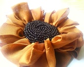 Beaded Fabric flower sunflower hairclip and brooch