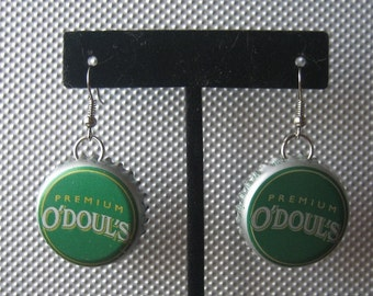 Recycled O'Doul's Bottle Cap Upcycled Bottlecap Earrings