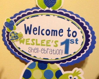 Blue and Green Turtle Door Sign