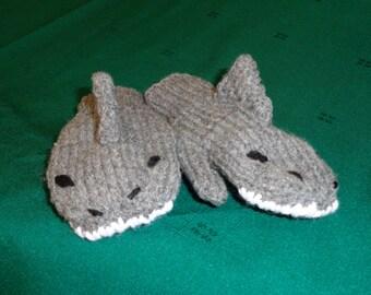 Hand Knit Shark Mittens-medium