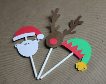 Christmas Santa, Elf, and Rudolph Cupcake Toppers