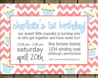 cupcake invitation for child's birthday party
