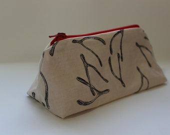Zippered Flat Bottom Makeup Bag Pencil Case - Wishbones with Red