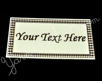 "Diamonds - ""Iron On"" or ""Sew In"" - Cotton Fabric Labels (White) - For Crochet, Knit, Sew and Quilt Heirlooms"