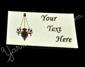 Chandelier - White Cotton Custom Printed Labels / Sew in Clothing labels / Personalized Fabric Labels - For Crochet, Knit, Sewing