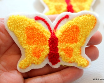 Yellow and Red Butterfly Applique Patches x 3