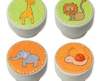 Safari Animal Knobs - Safari Animal Drawer Knobs- Jungle Animal Knobs- Lion, Elephant, Giraffe, Snail - Wood - 1 1/2 Inches - Set of 4