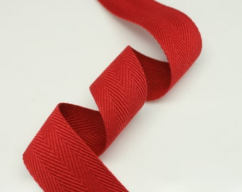 "5 Yards of Red Color 15mm (5/8"") or 25mm (1.0"") Cotton Twill Herringbone Ribbon Fabric Ribbon Tape Vintage Color trim - Annielov Crafts"