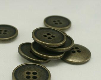 10 pcs 20mm Brass Metal Button Antique gold button Round Button Sweater Button Unique button Supplies 4 holes buttons - Annielov Button #57