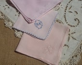 3 Pink Handkerchiefs French Hankies Cotton and linen made Monogram Butterfly Pocket Squares #sophieladydeparis