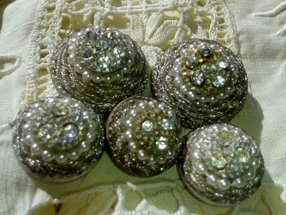 5 Art Deco French Buttons -1930's - Rhinestones & F aux Pearls Beaded - Silver Couture Buttons - Silver Thread Braided -Jewelry Assemblage