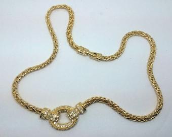 RoAn Gold Tone Rhinestone Necklace