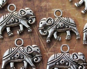 10 Elephant Charms Elephant Pendants Antiqued Silver Tone Double Sided 15 x 20mm