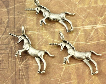 8 Unicorn Charms Unicorn Pendants  Antiqued Silver Tone 20 x 30 mm
