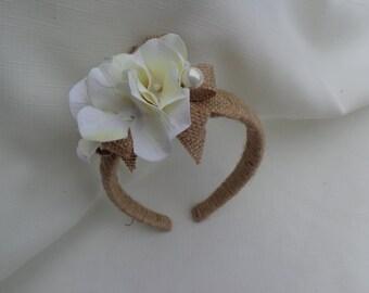 Flower girl headband in cream hydrangea blossoms trimmed in burlap