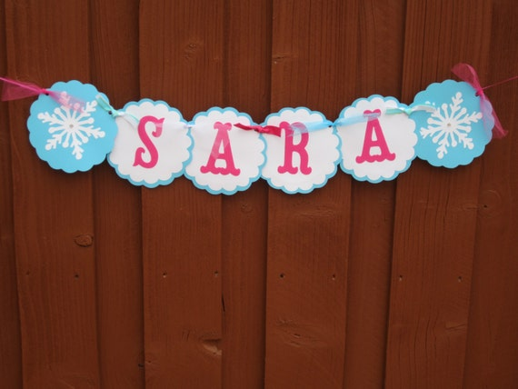 Disney Frozen Birthday Banner NAME ONLY by LittleBirdiPaperShop