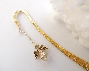 Golden Angel Bookmark,  Guardian Angel Bookmark, Books ans Zines, Religious Bookmarks, Metal Beaded Bookmarks. B69