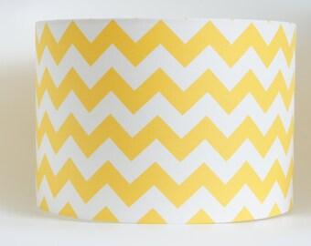 Lampshade in Riley Blake's chevron yellow & white fabric hand rolled drum lampshade