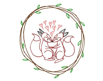 Fox Hand Embroidery Pattern Valentine's Printable Woodland Animal Digital Downloadable Download 0014