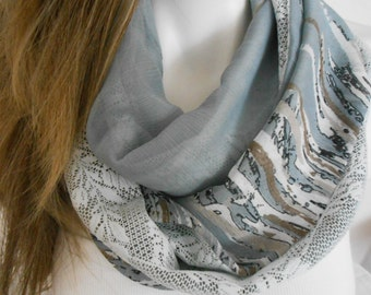 Gray Infinity Scarf, Gray Circle Scarf, Woman Loop Scarf, Women's Fashion, Ice White, Tube Scarf, Infinity Lace Scarf, Winter Accessories