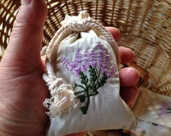 Embroidered Organic Sachet ~ Lavender & Chamomile Linen Drawstring Bag ~ Buds and Flowers to Scent Drawers, Dry Clothes, or add to Tub Bath