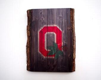 Ohio State Handmade Wooden Plaque - Ohio Buckeyes Rustic Wood Sign - College Football Team on Wood