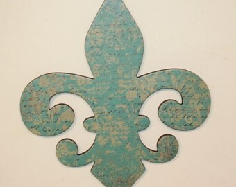 Fleur de lis wall decor, Turquoise decor, French decor, Fleur de lis wall art