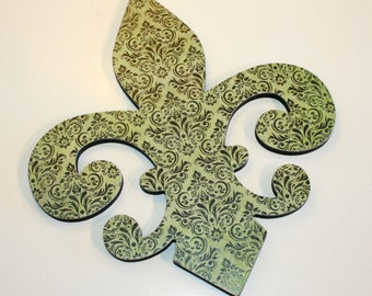 Fleur de lis wall decor, Green and black wall decor, French decor, Fleur de lis wall art