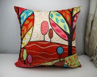Velvet throw pillowcase cushion covers optional sizes / Abstract /original FOLK  ART design by Karla Gerard