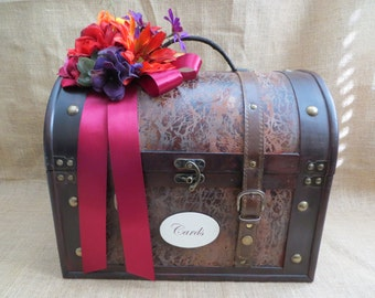Pick Your Ribbons & Flowers - Very Large Wedding Trunk, Wedding Card Holder, Card Box, Money Holder, Money Box, Wedding Suitcase, Rustic box