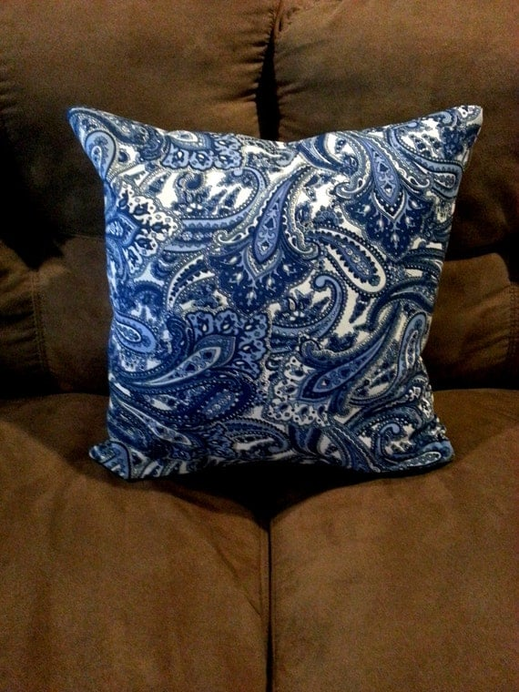 Items similar to Blue and White Paisely Throw Pillow Cushion Cover on Etsy