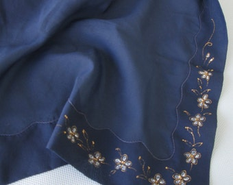 SALE 50% OFF Midnight Blue Polyester Scarf Hand Painted Flowers