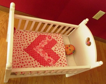 Doll Quilt- Pink Heart